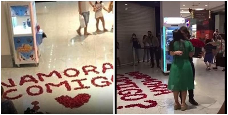 Vídeo: jovem é pedida em namoro no Shopping Rio Poty em Teresina e cenas emocionam