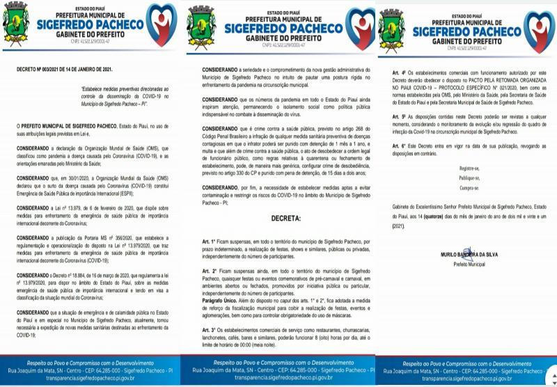 Prefeitura de Sigefredo Pacheco baixa decreto suspendendo realização de eventos no município