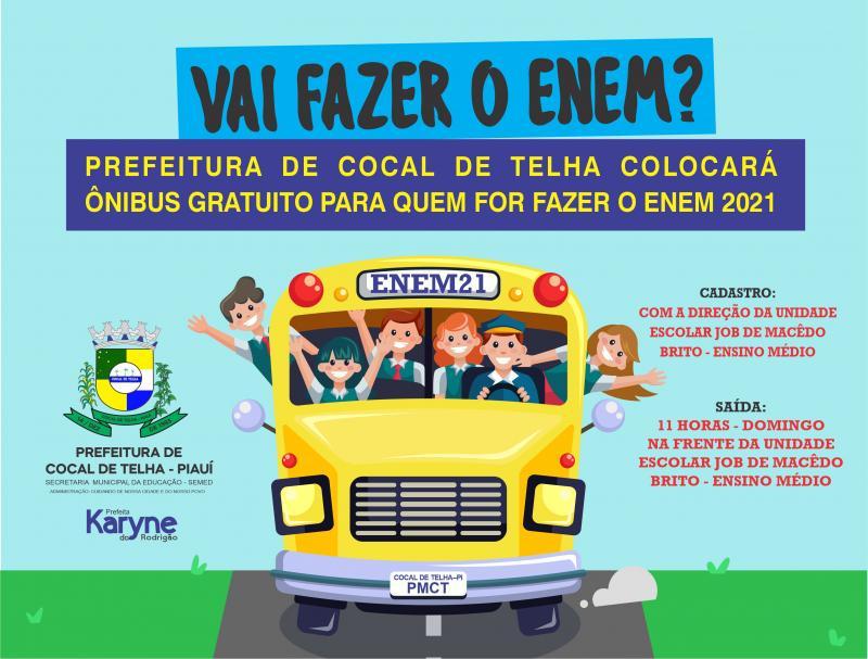 Prefeita Karyne do Rodrigão ofertará transporte gratuito para os estudantes do ENEM