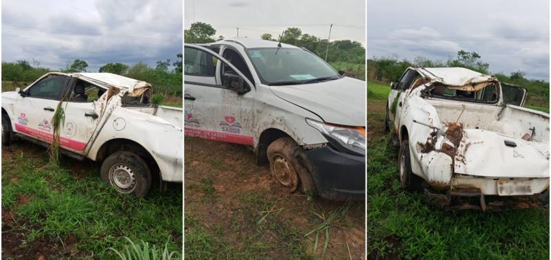 Veículo de secretaria de Saúde no Piauí capota durante chuva na BR-316