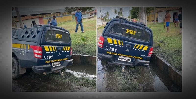 Agentes da PRF sofrem acidente durante perseguição às margens da BR 343, no Piauí