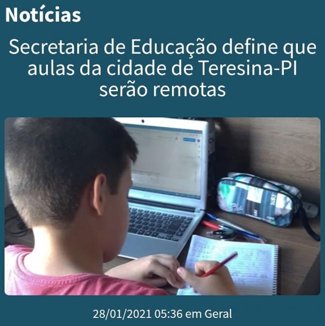 Secretaria de Educação define que aulas da cidade de Teresina-PI serão remotas