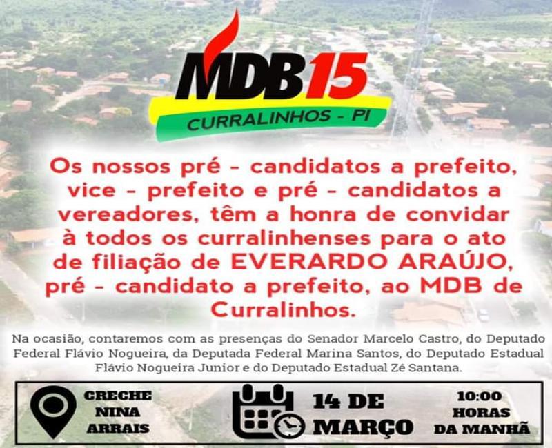 MDB de Curralinhos realiza evento de filiação nesse sábado (14)