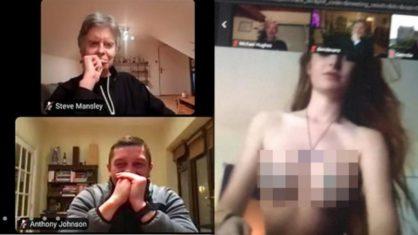 Reunião virtual de clube inglês é 'invadida' por vídeo pornô de stripper