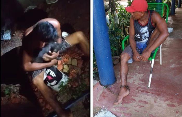 Homem é capturado e acorrentado por populares após ser flagrado furtando porcos no Piauí