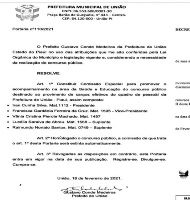 Prefeito de União nomeia comissão organizadora de concurso público;