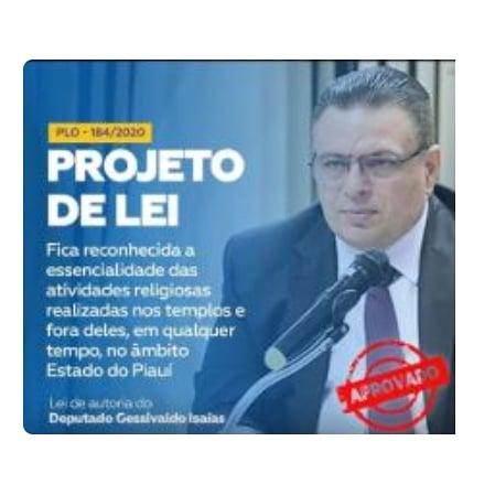 Deputado Gessivaldo Garante Cumprimento de Lei Reconhece Essencial as Atividades Religiosas no Piauí