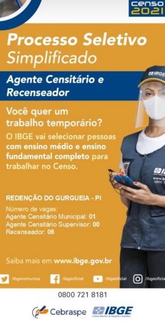 Processo seletivo do IBGE ofertará 07 vagas para Redenção do Gurguéia