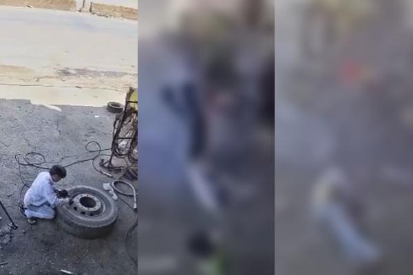 Veja o momento em que pneu explode e arranca cabeça de mecânico; cenas fortíssimas