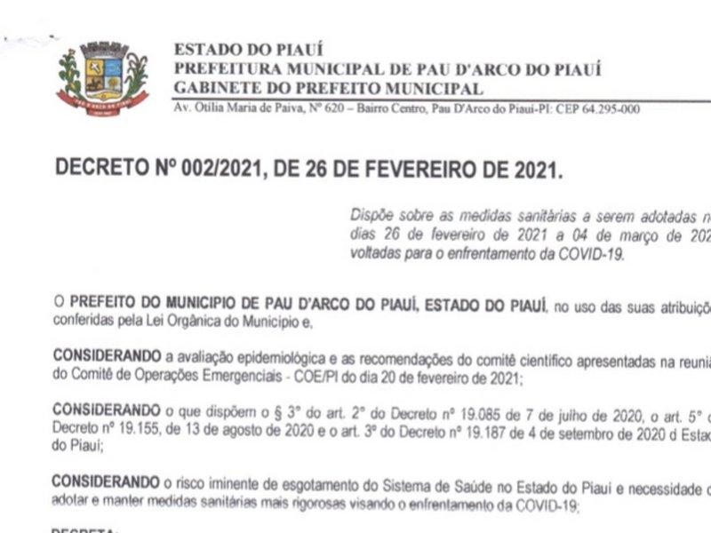 Prefeitura de Pau D'arco do PI publica novo decreto com restrições para conter COVID