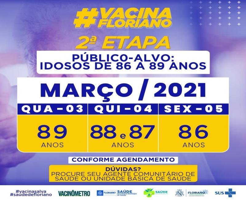 Floriano divulga calendário de vacinação para idosos com idade entre 86 e 89 anos