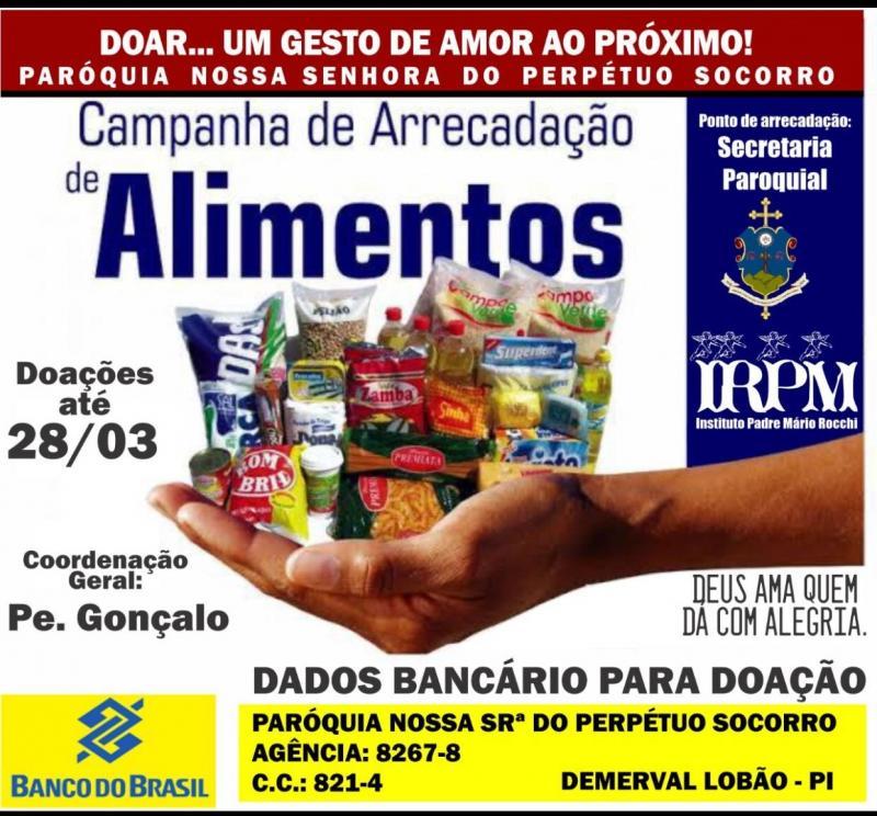 Demerval Lobão | Paróquia inicia Campanha de Arrecadação de Alimentos