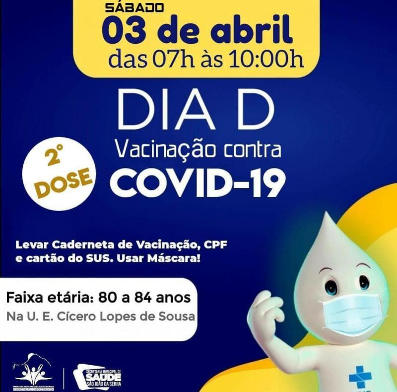 Sábado,03, será de vacinação em idosos de 80 a 84 anos em São João da Serra