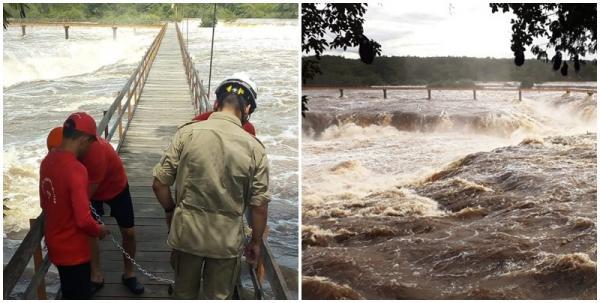 Bombeiros interditam passarela da Cachoeira do Urubu em Esperantina